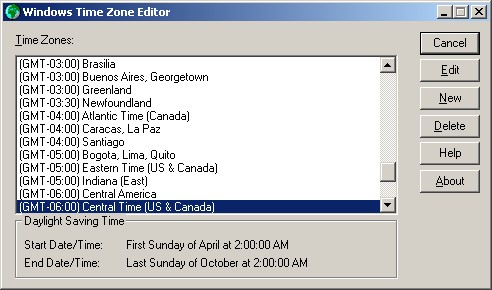 Time Zone Editor main dialog box