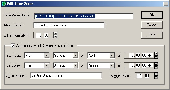 Using tzedit to change daylight saving time