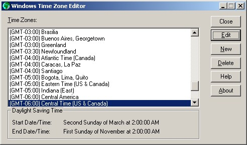 Time zone editor main dialog box after edits